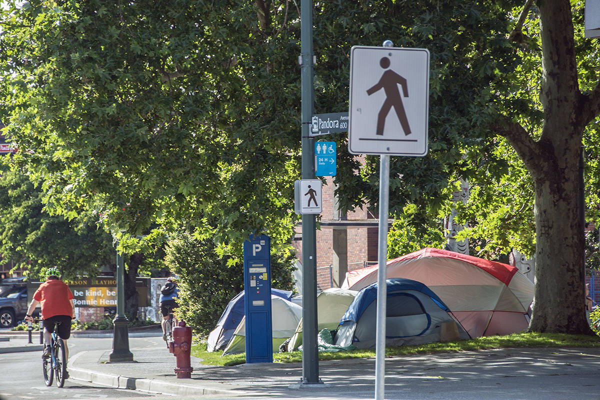 The City of Victoria has ordered homeless campers in Centennial Square to relocate by Tuesday, Sept. 1. (Black Press Media file photo)